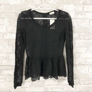 AG Adriano Goldschmied Black Lace Peplum Blouse